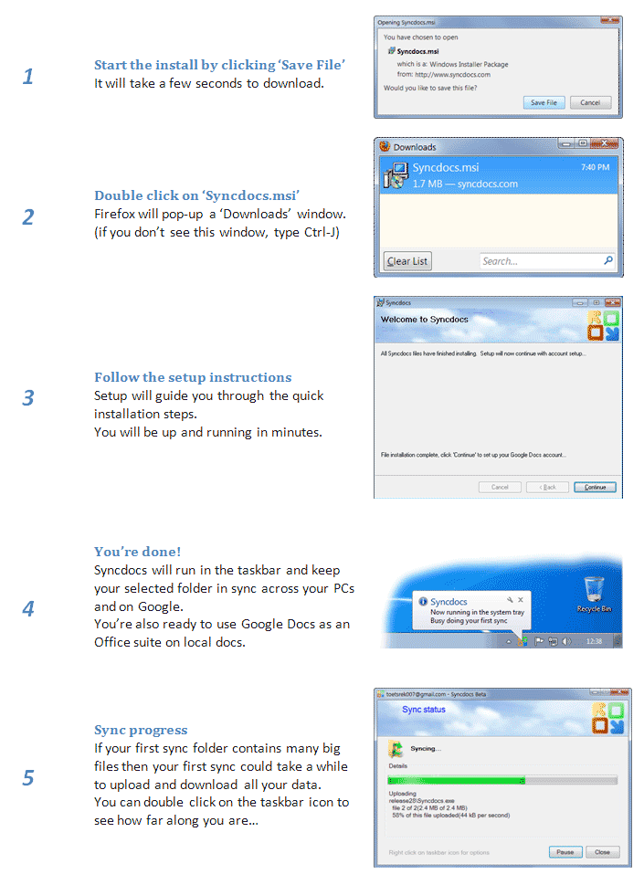 Setup step by step instructions screenshots for non IE users