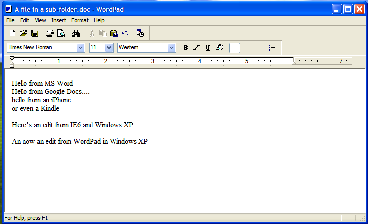 Wordpad google docs sync