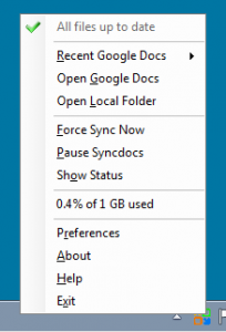 syncdocs options menu