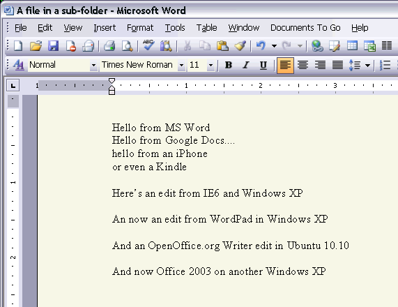 Office 2003 Syncdocs Word sync