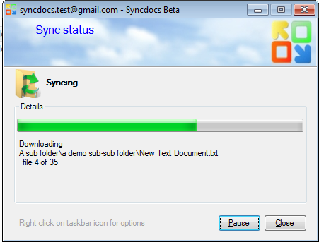 Syncdocs screen shot
