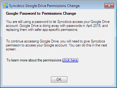 Google Drive passwords to permissions change